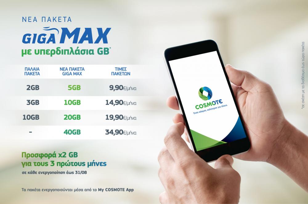 Cosmote Giga Max: Νέα πακέτα mobile Internet με υπερδιπλάσια GB