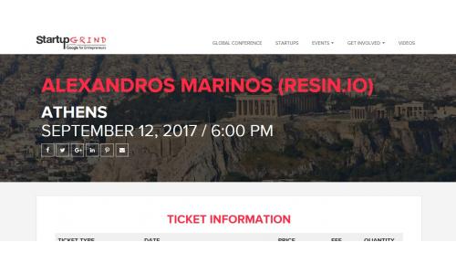 Startup Grind Athens: Ξεκίνημα της νέας σεζόν με τον Αλέξανδρο Μαρίνο της Resin.io