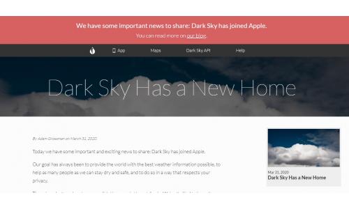 Εξαγορά της εφαρμογής καιρού Dark Sky από την Apple